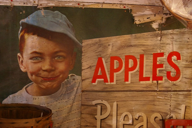 Vintage apple sign at Eberly's Orchard, North Liberty, Indiana