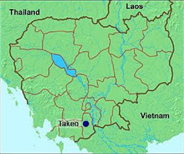 Cambodia Map Showing Takeo District