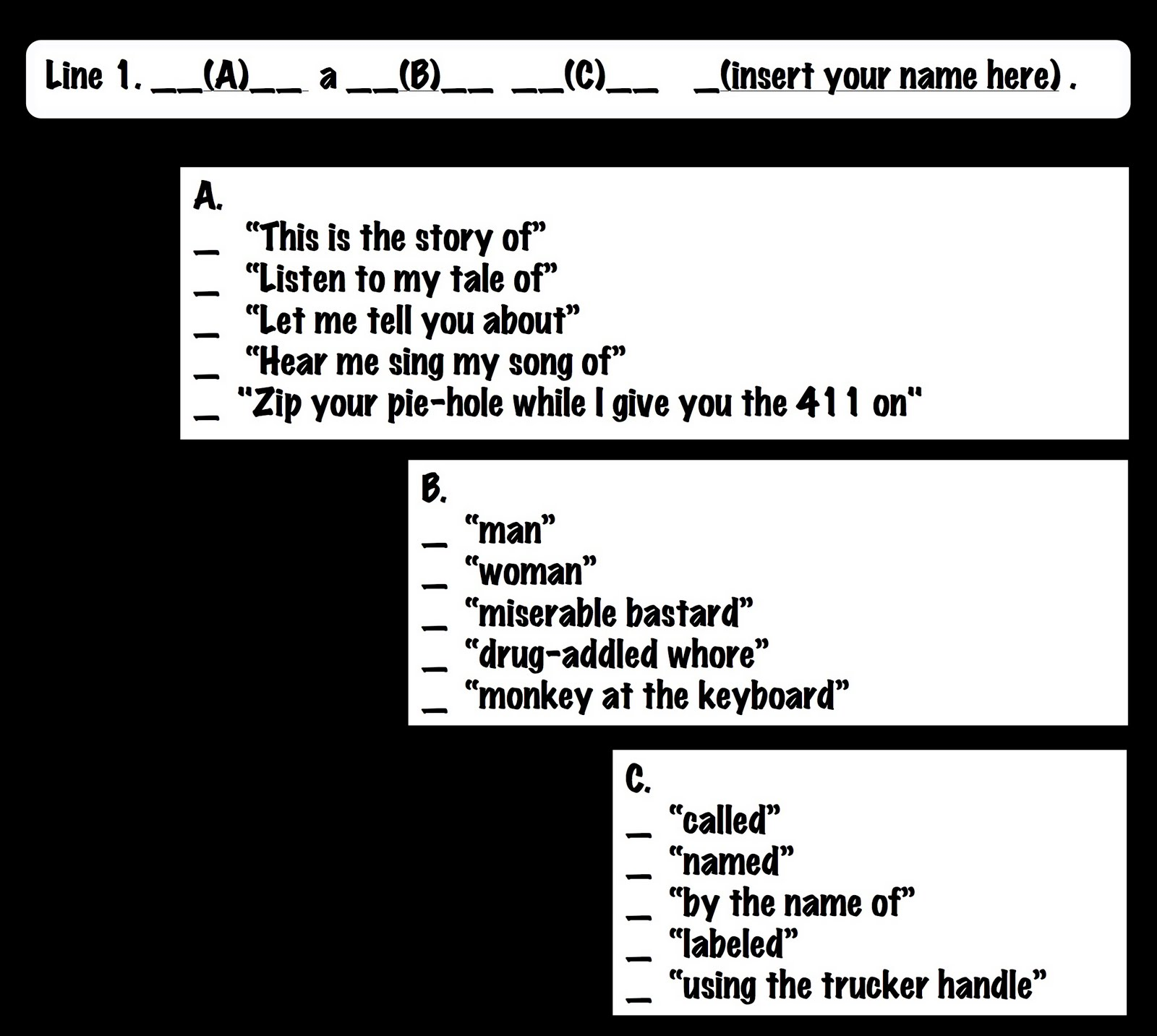 How to write a themesong