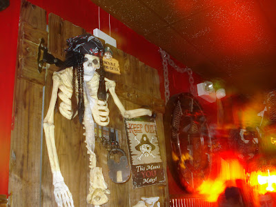 In the back bar, skeletons and swords are a warning to any rowdy landlubbers