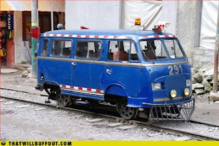 VW bus turned into train