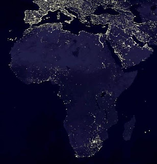 Satellite view of Africa at night
