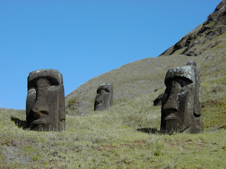 The moai, or stone heads of Easter Island