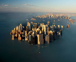 Drowned cities from climate change raising sea levels