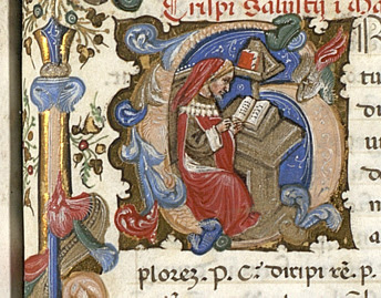 Medieval scribe in a manuscript capital 'G'