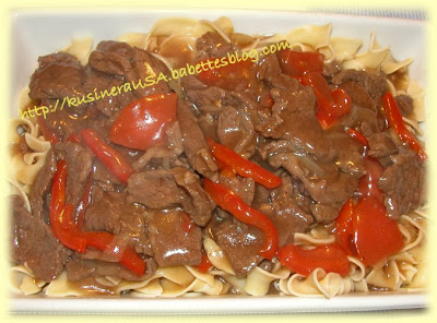 Pepper Steak over Egg Noodles