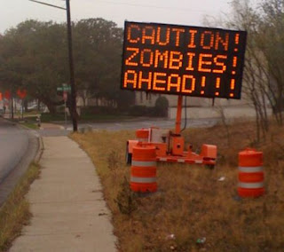 sign hacker broadcasts zombie warnings