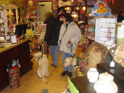 Lynn and Reyna walking in the candy store