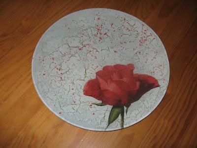 pratos de vidro, découpage, craquelado