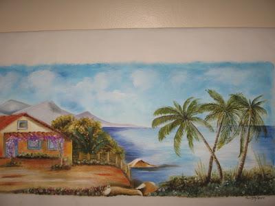 paisagem pintada no tecido
