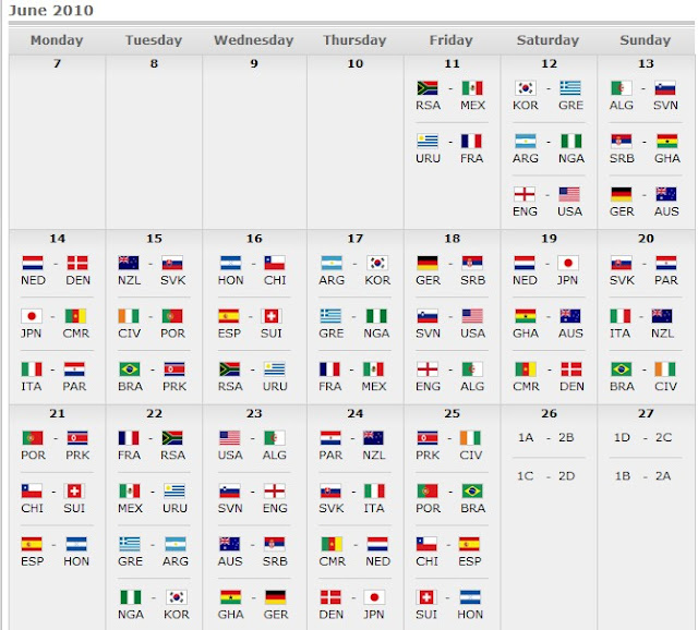 World Cup 2010 Schedule