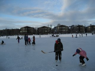 Outdoor Ice Skating at Westchester Lagoon, Alaska