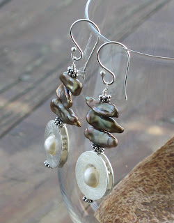 Stick Pearls and Frame Bead Earrings by jaC Jewelry