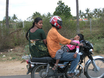 A Indian Family on a Motorcycle