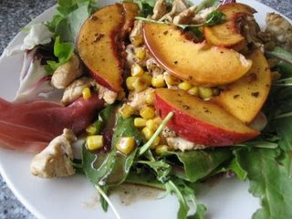 Warm Peach Summer Salad with Prosciutto
