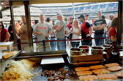 cheesesteaks at rick's at the citizens bank park, philadelphia phillies, ashburn alley