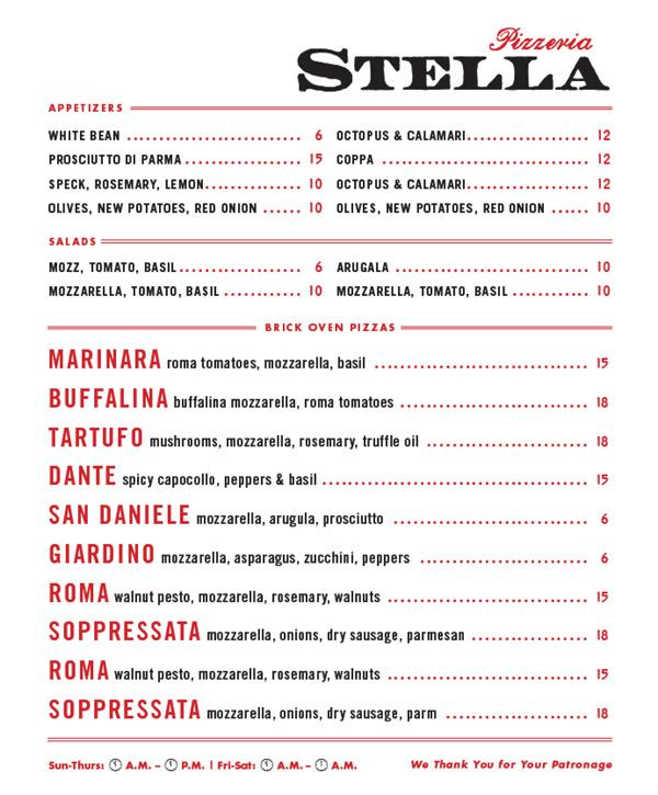 pizzeria stella draft opening menu