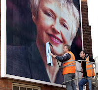 Photo of Penny Haywood Calder, PHPR's MD on a huge billboard illustrating Pictures with PR impact