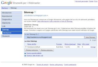 Videata di una sitemap correttamente caricata negli strumenti per webmaster