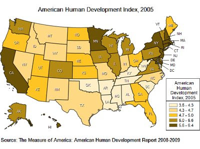 The Map Scroll Another Measure Of Human Development For US States - Ap map of us
