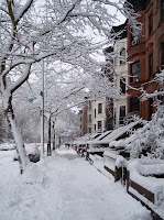 Brownstones in Snow