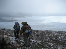 Neil and Duncan crossing the pass with Glacier Grey in the background