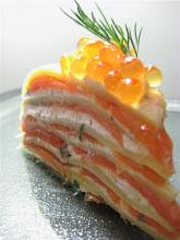 smoked salmon horseradish cream cheese layered crepe cake