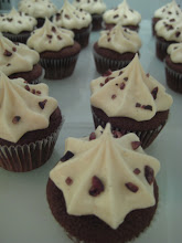 Mini mocha cupcakes with latte frosting & cocoa nibs