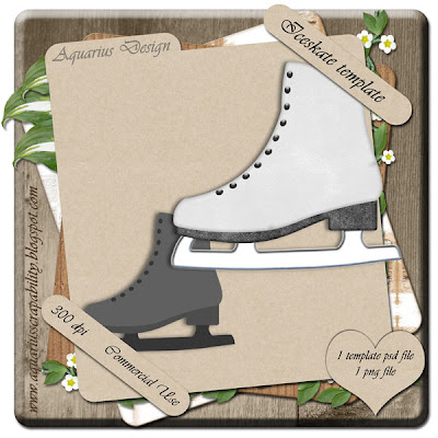 Ice Skate Template - By: Aquarius Scrapability Preview-AD-Iceskate