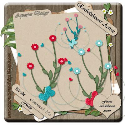 Flower Embellishment Action - By: Aquarius Scrapability AquariusDesignPreviewEmbelishmentAction