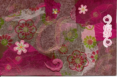 multi media crafting in pinks