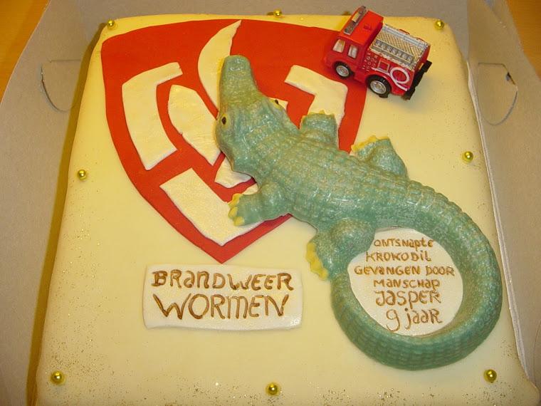 Brandweer Wormen, taart voor manschap Jasper 9 jaar