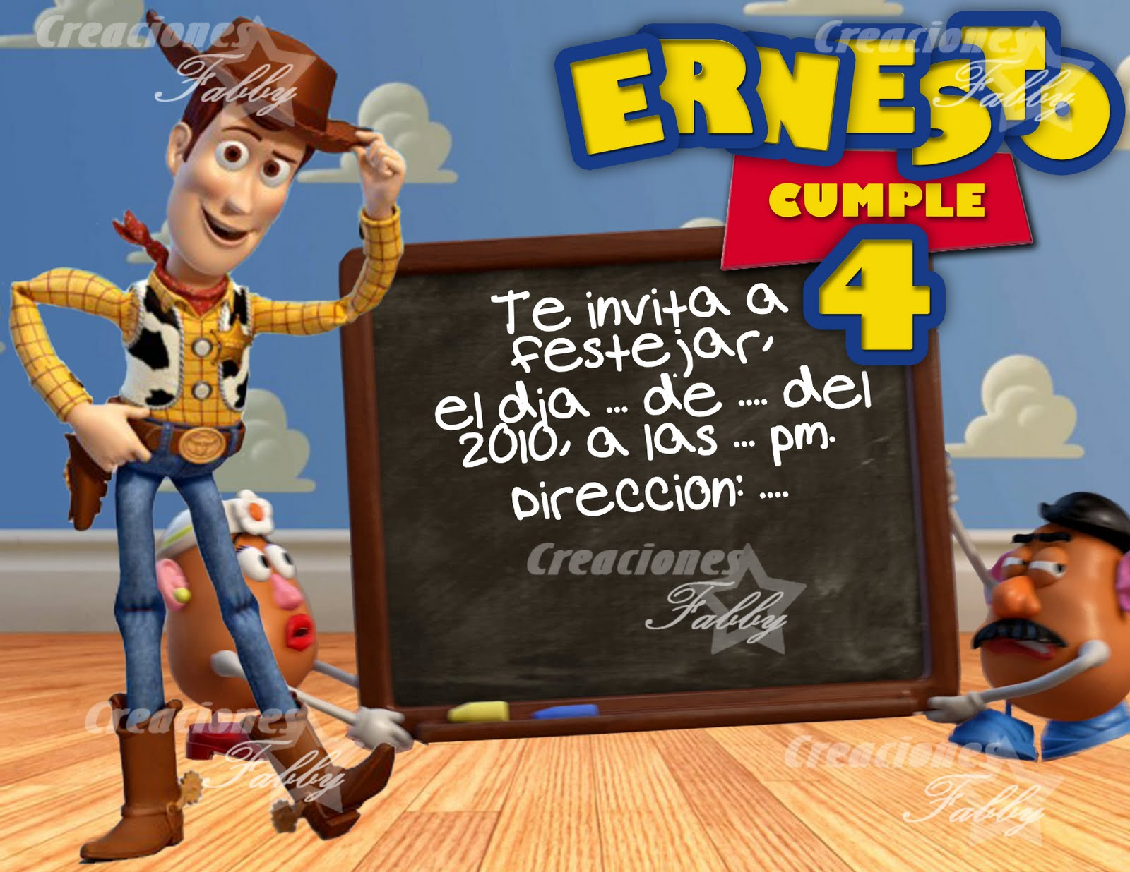 Tarjeta de invitacion Woody..Toy Story