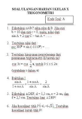 Matematika Dan Komputer Soal Ulangan Harian Trigonometri