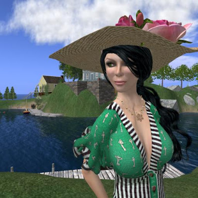 Green Fashion Roses on Outfit Anuenue Key Dress Green Hat A La Folie Chapeau Paille Et Roses