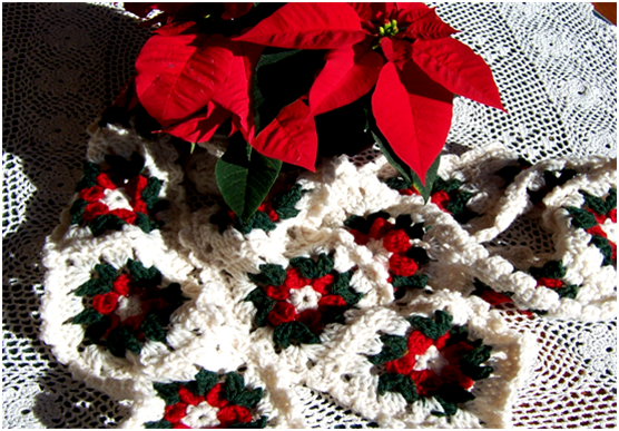 Art Threads Monday Project Poinsettia Scarf