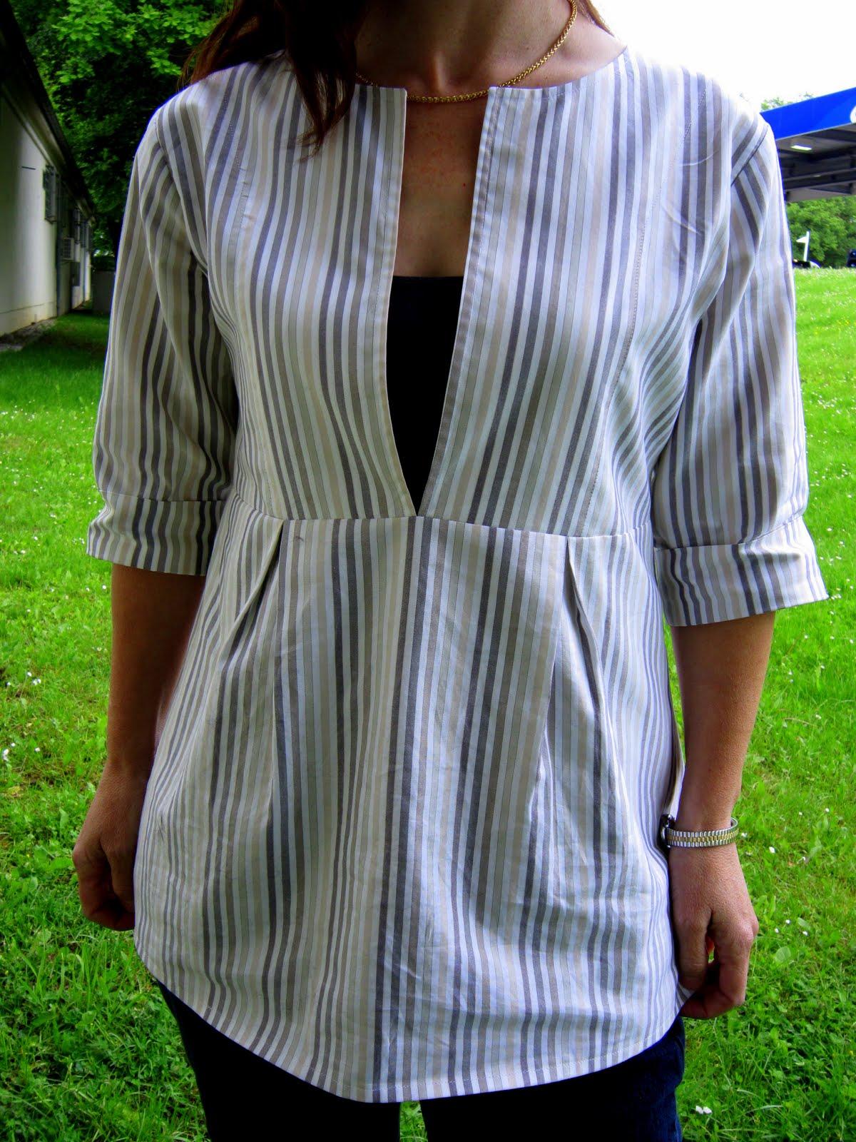 Как сшить блузку из мужской рубашку 37