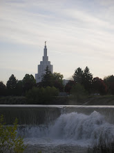Idaho Falls Temple with the falls