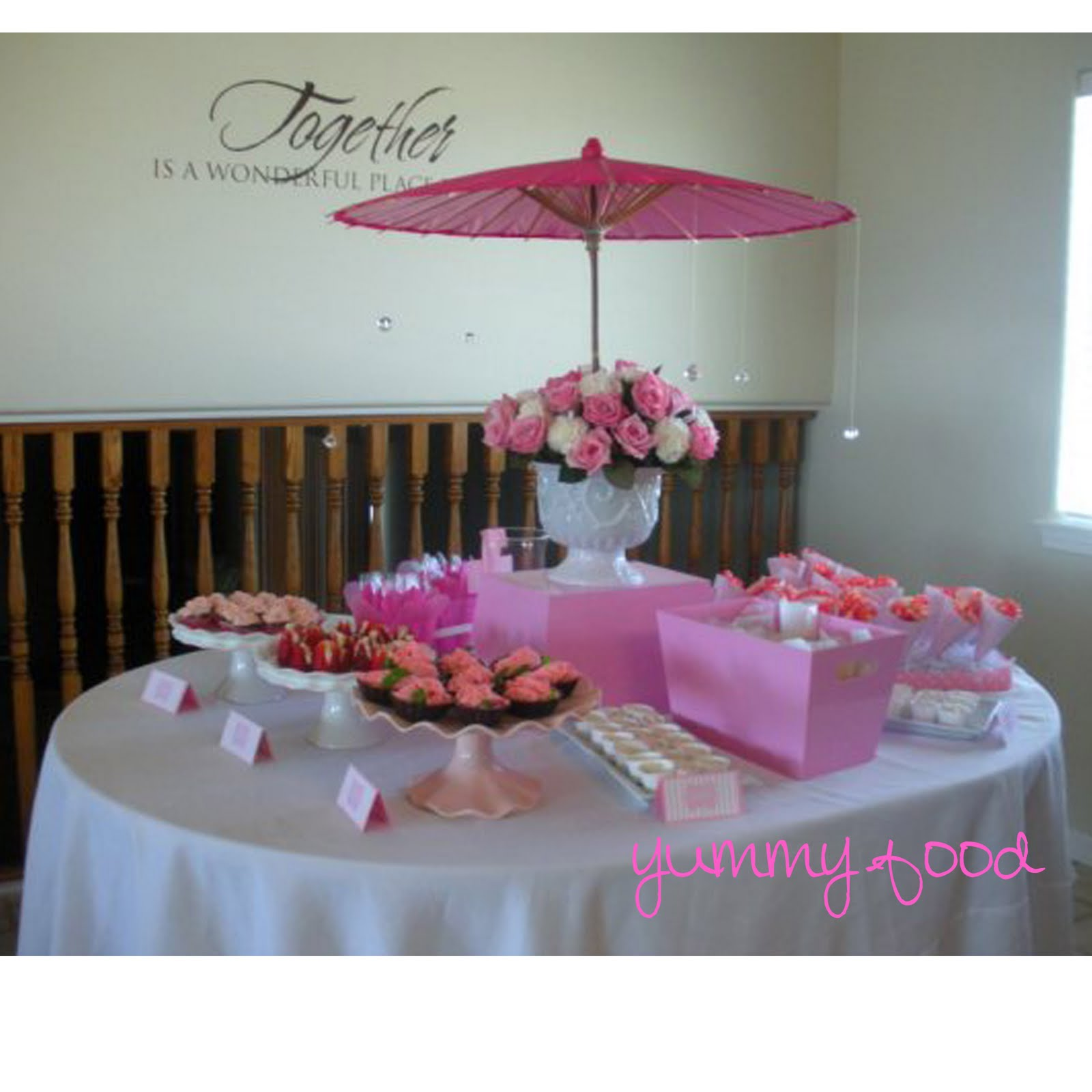 Creative outlet pleasantly pink baby shower - Pink baby shower table decorations ...