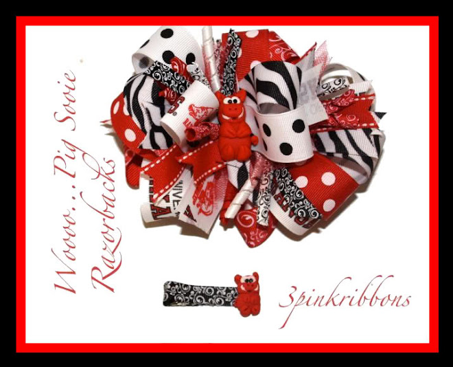 Arkansas Razorback Boutique Bow and Polymer Clay Clippie!