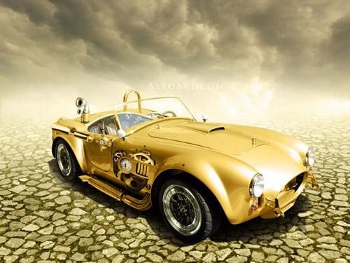 Steampunk golden car Photoshop tutorial