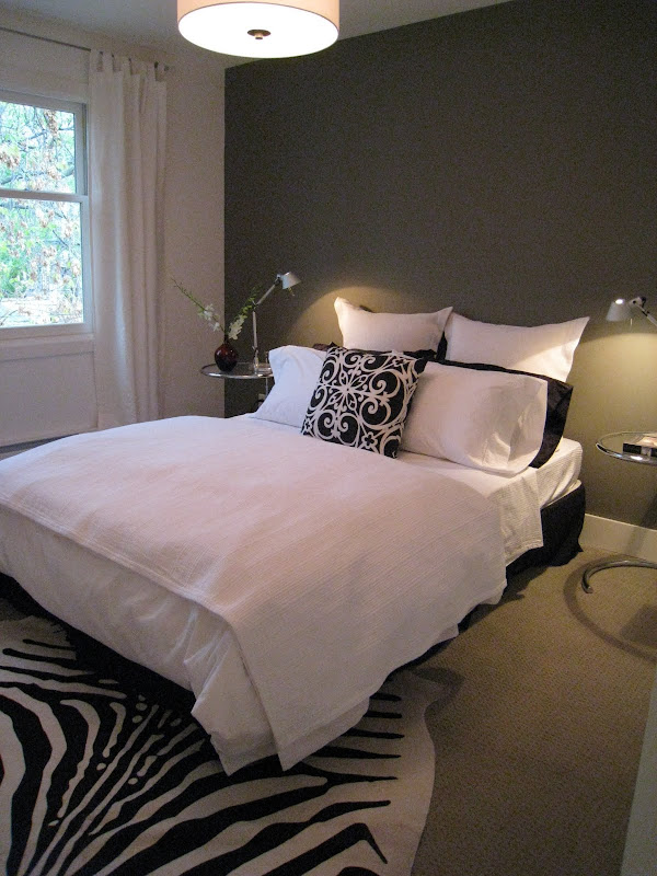 After - Back bedroom with dark grey accent wall, I eventually added  title=