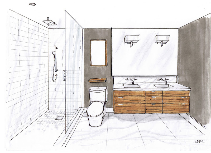 Ensuite room design and renderring by Carol Reed Interior Design title=