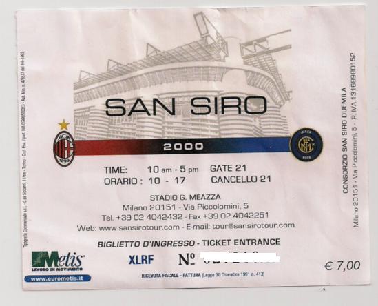 Collezione gadget inter biglietto d 39 ingresso museo inter - Cosa si puo portare allo stadio san siro ...