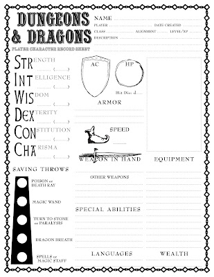 Here's a more recent B/X D&D character sheet, similar in style to the
