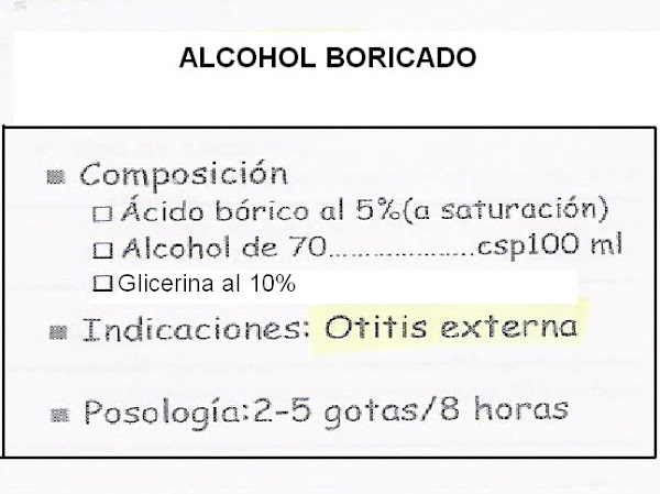 Fórmula Magistral . Alcohol boricado.