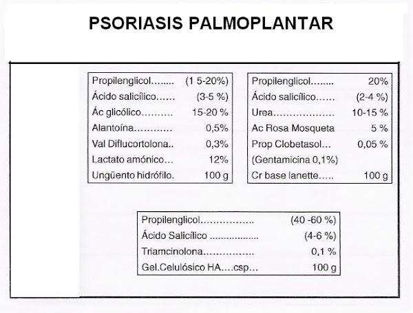 Fórmula Magistral. Psoriasis palmo plantar.