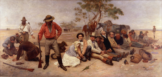 painting Bushrangers on the St Kilda Road