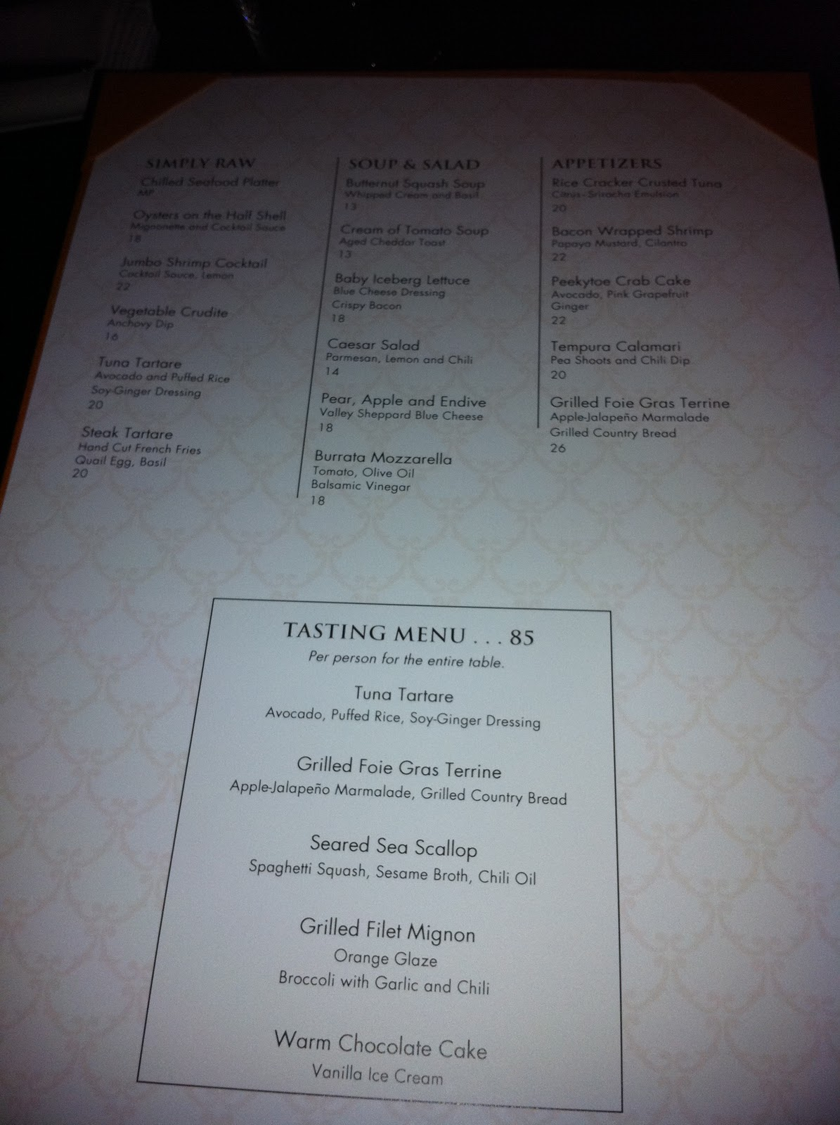Dinner at Jean Georges Steakhouse - Las Vegas - at Aria Hotel - Jeff ...