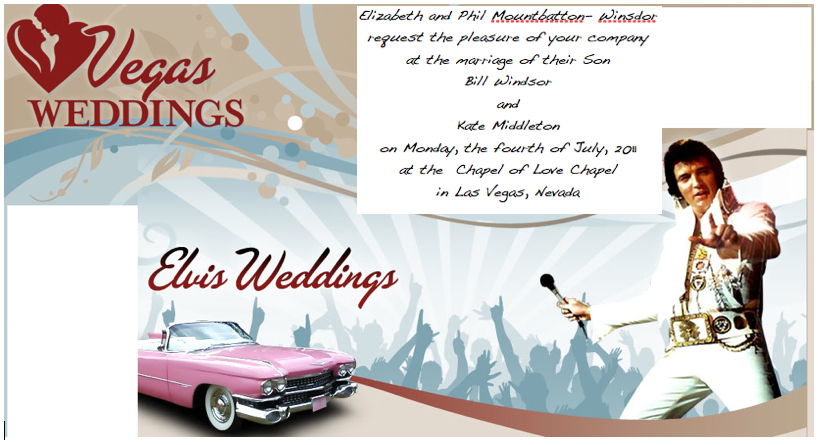 Elvis wedding invitations for Las vegas elvis wedding invitations